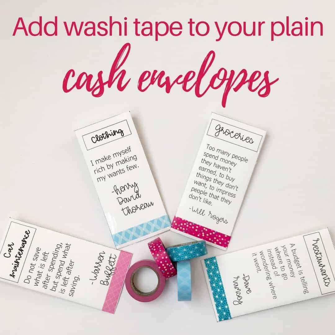 cash envelopes washi tape