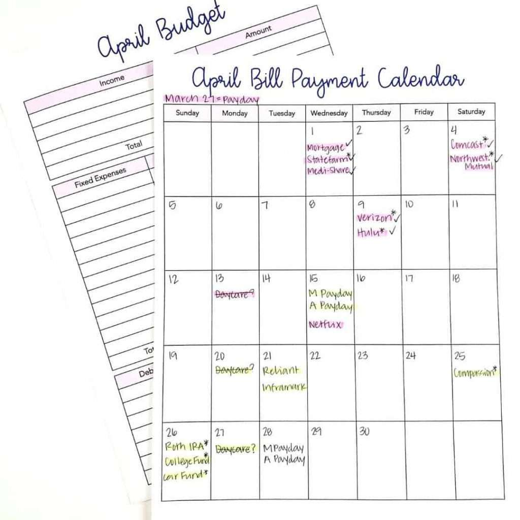 April Budget Calendar Example by Inspired Budget
