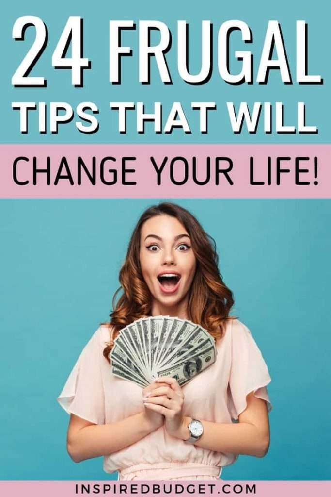 Check out these 24 frugal living tips that will help you save a ton of money! Living frugally is easy to do when you choose even a few of these to try. Perfect for people on a budget or trying to pay off debt.