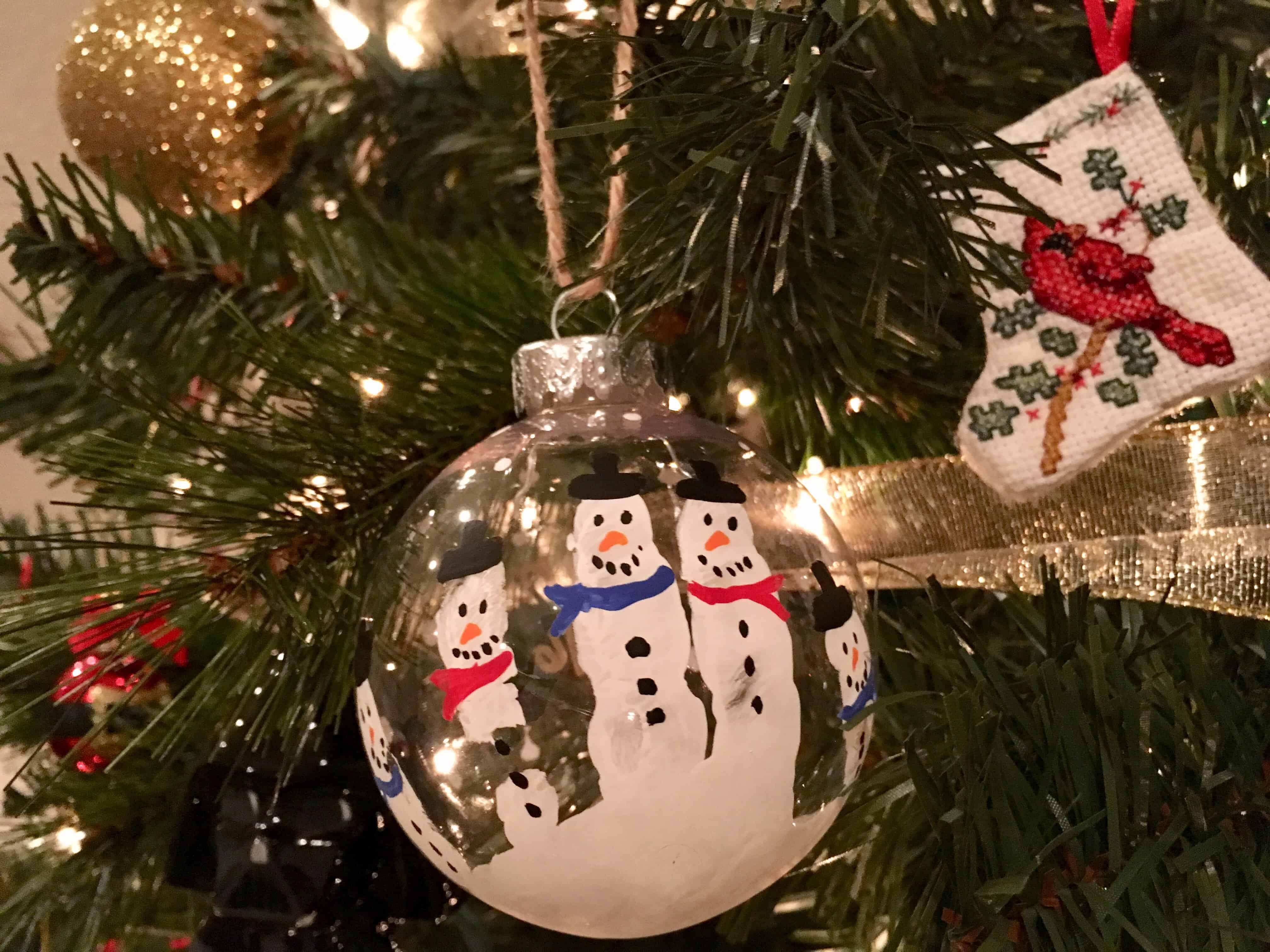 Hand made Christmas ornament on tree