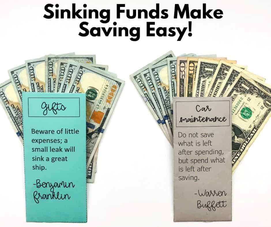 sinking funds by InspiredBudget.com