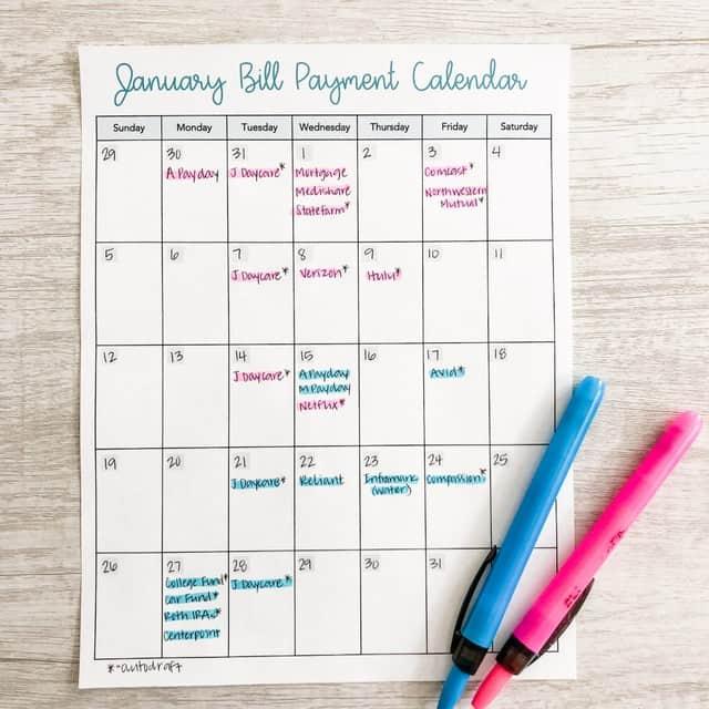 Bill Payment Calendar by Inspired Budget