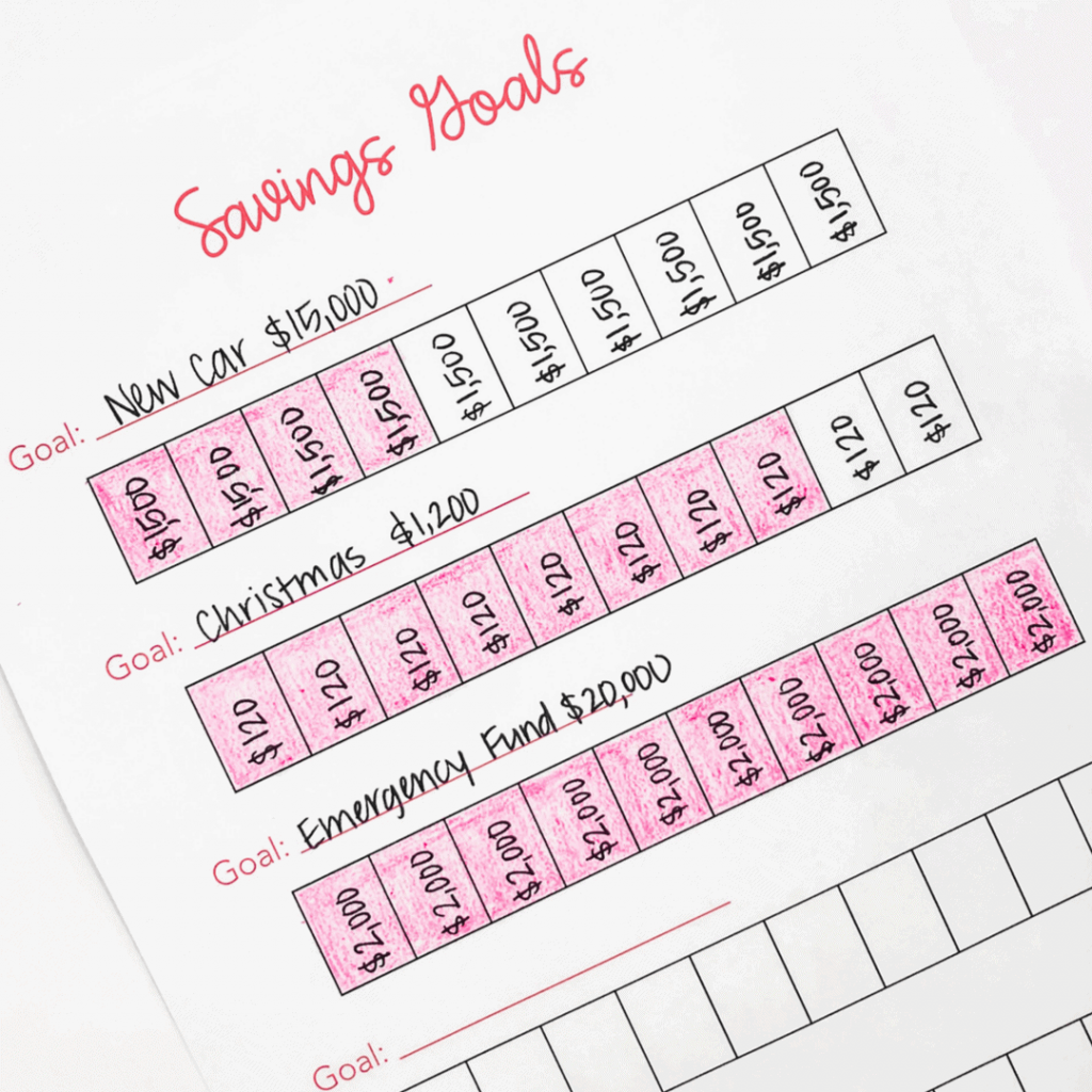 savings goal worksheet