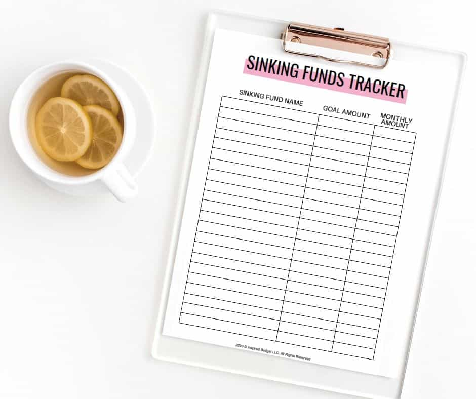 Free Sinking Funds Tracker by Inspired Budget