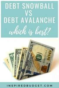 Debt Snowball vs Debt Avalanche by InspiredBudget.com