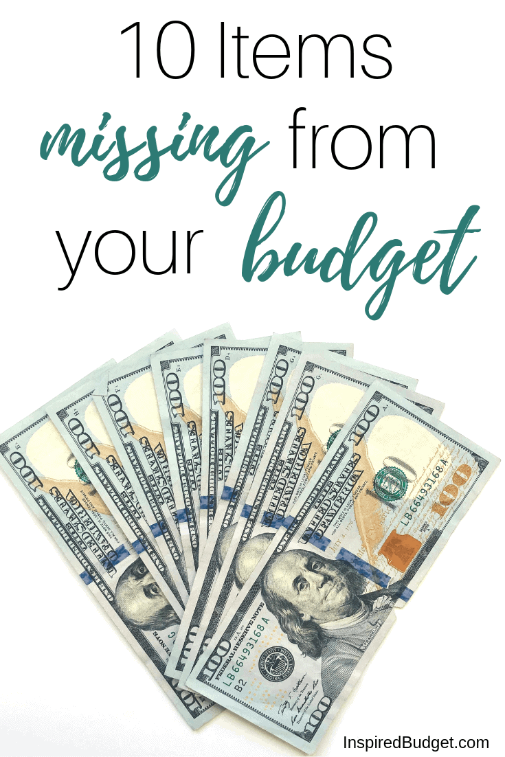 10 Items missing from your budget