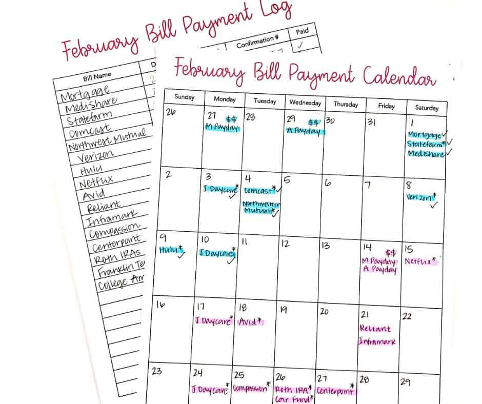 budget calendar and bill payment log