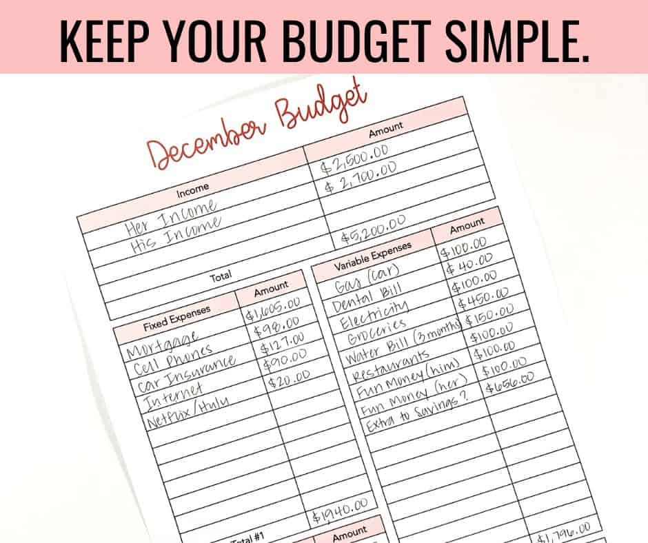 Keep Your Budget Simple