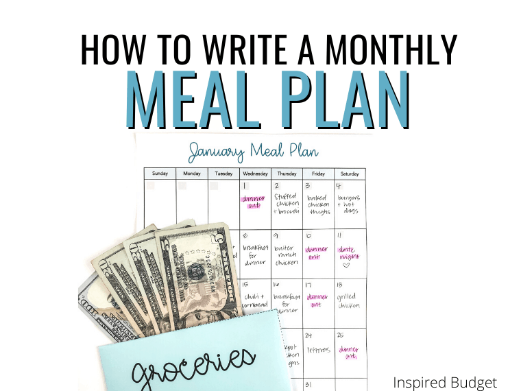 How To Create A Monthly Meal Planner