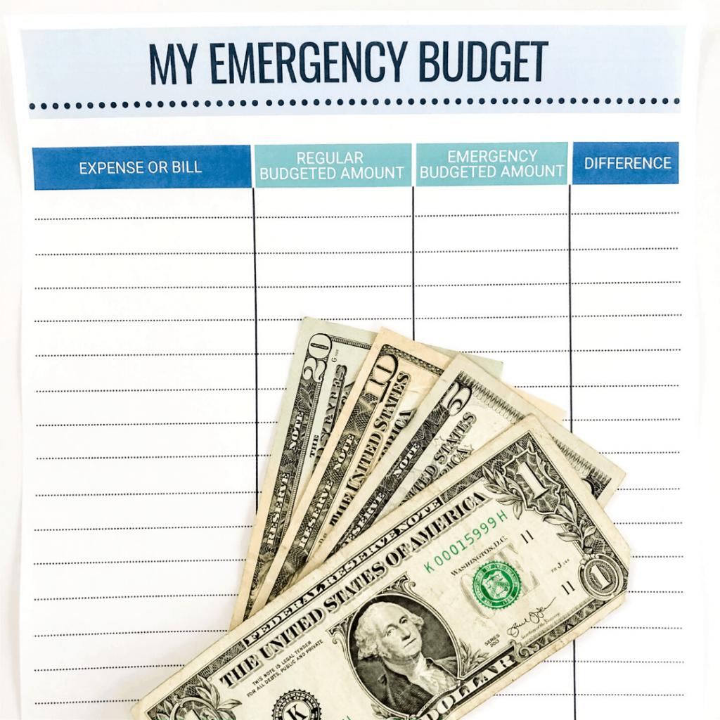 Emergency Budget Printable