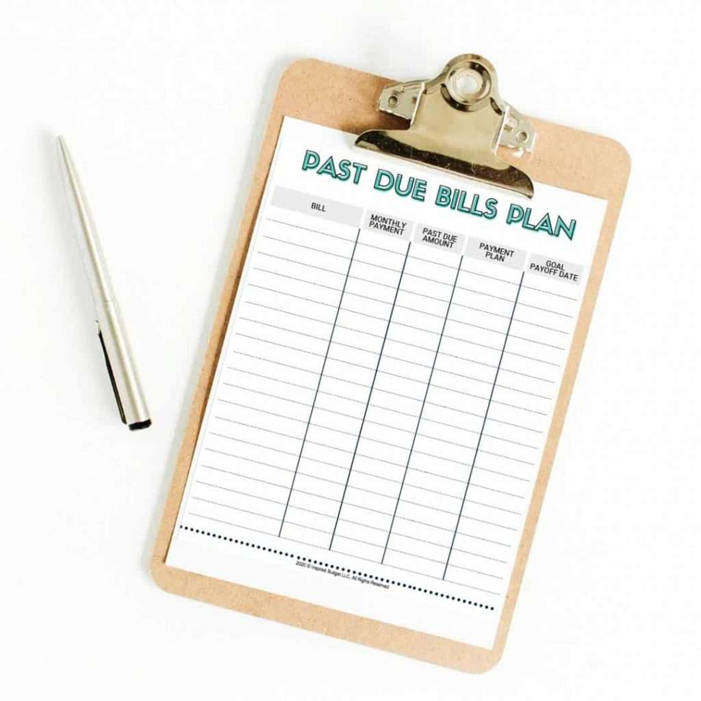 Past Due Bills Plan Free Printable