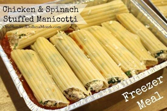 Chicken and Spinach Stuffed Manicotti