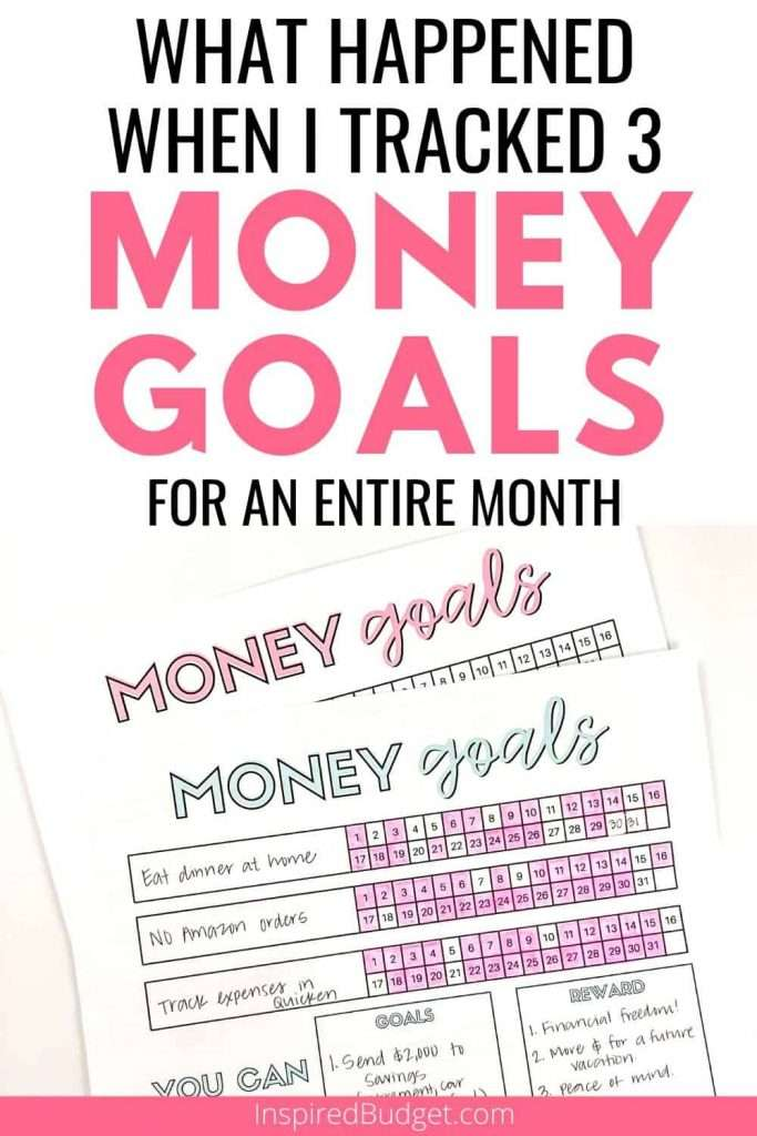 What happened when I tracked 3 money goals for a month by Inspired Budget