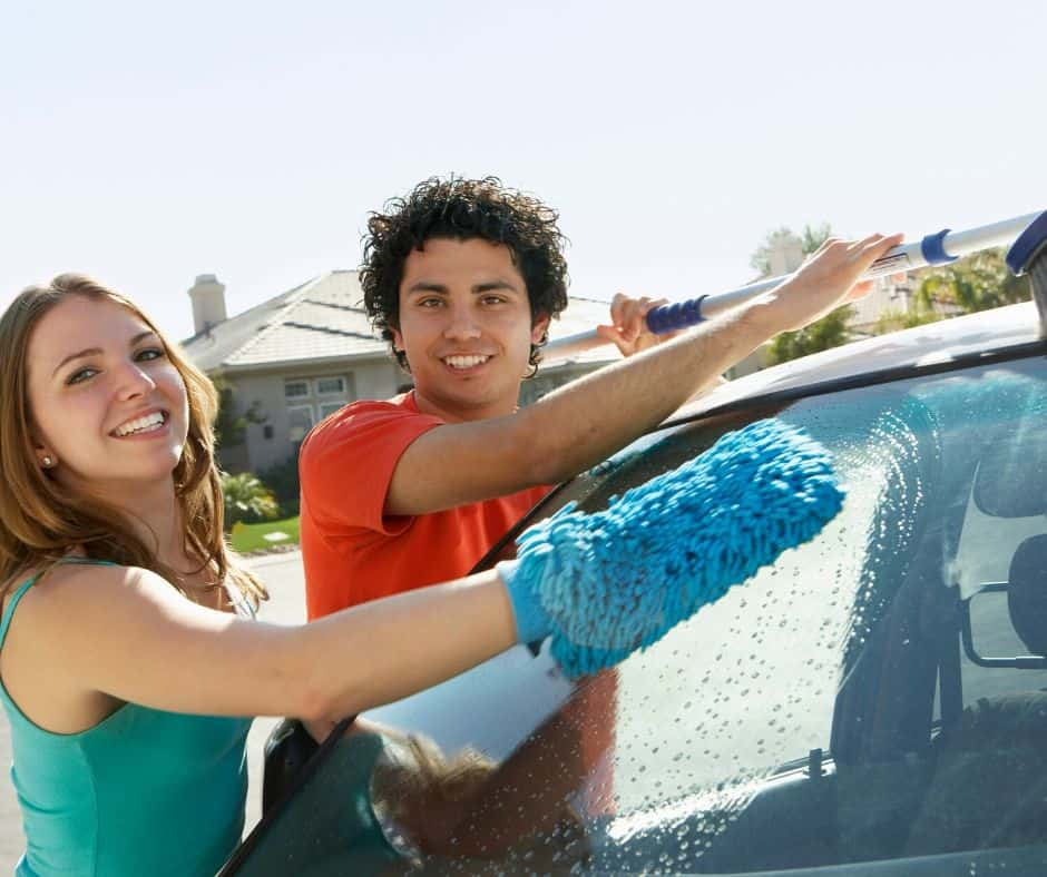 Wash cars to make money as a teen