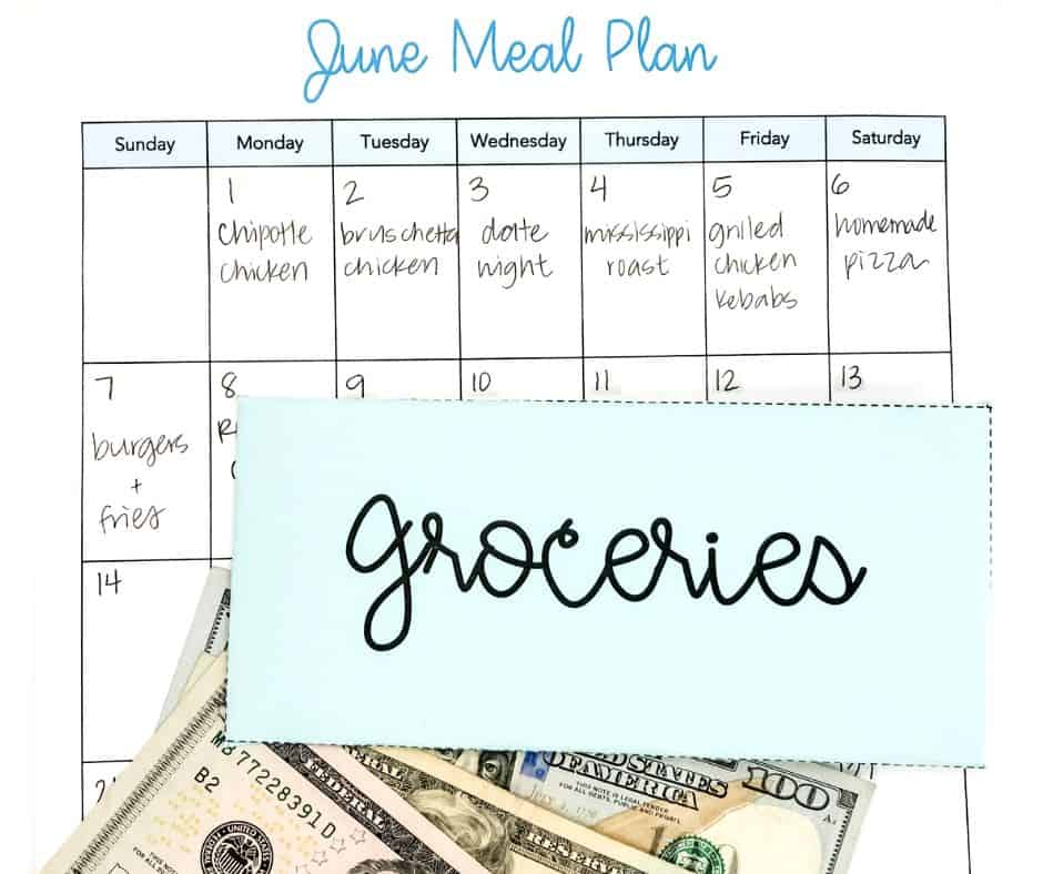 groceries cash envelope and meal plan