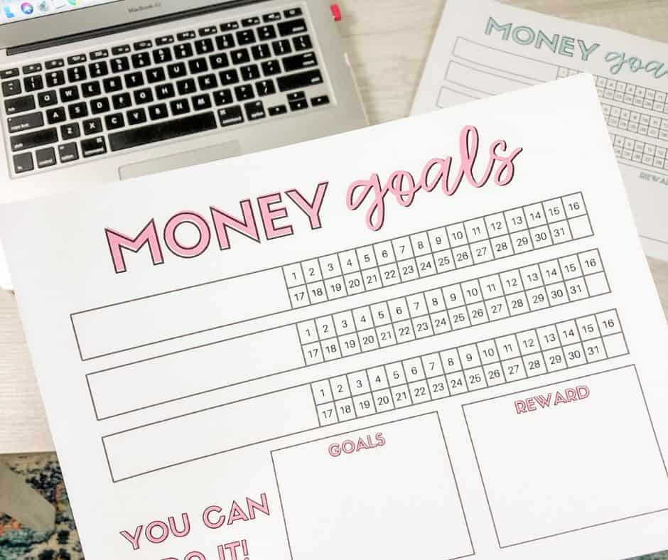 money goals printable and laptop