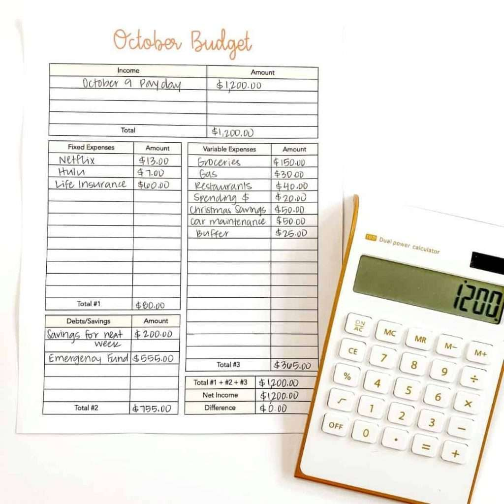 Budget example with calculator