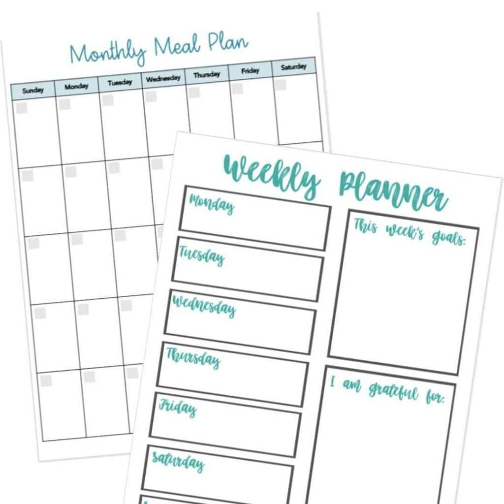 Free weekly and monthly meal planning printables to help you meal plan on a budget. By Inspired Budget