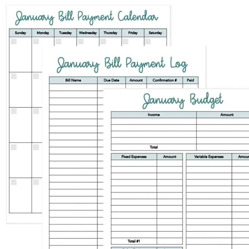 printable budget pages