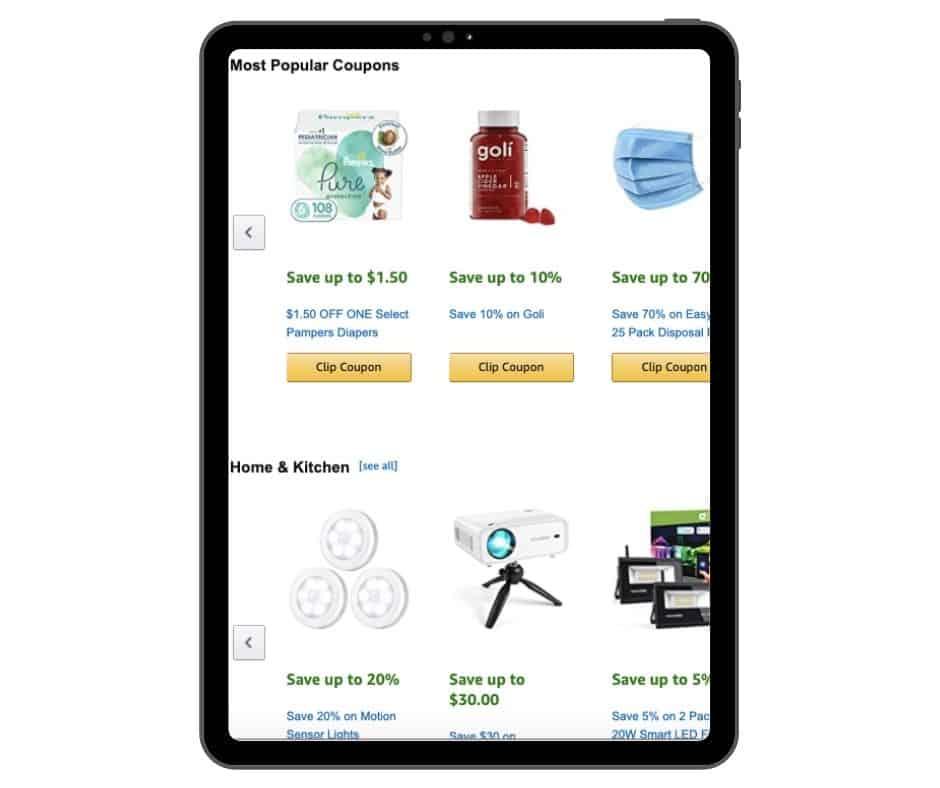 Amazon coupon on ipad