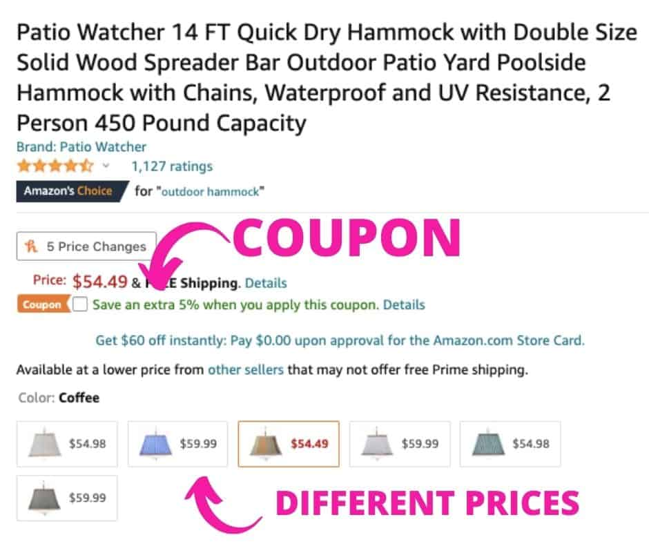 Amazon Hacks - coupons and different prices
