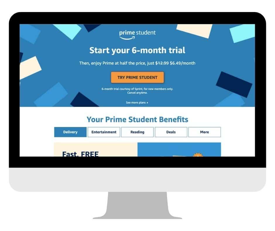 Amazon Prime Student on computer