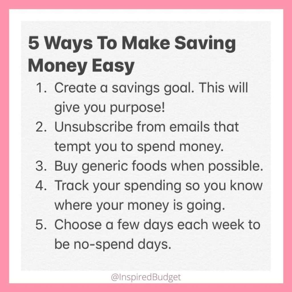 How To Save Money List