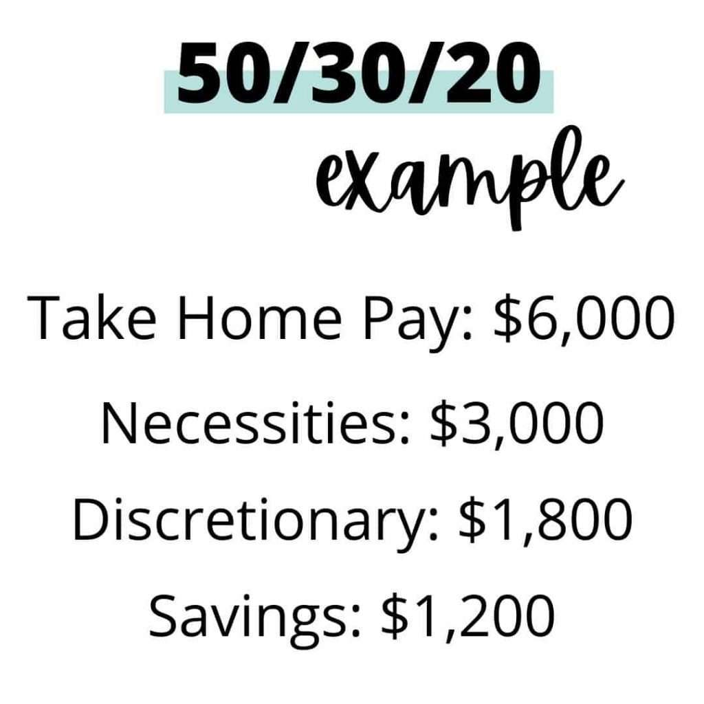 50/30/20 Budget Example