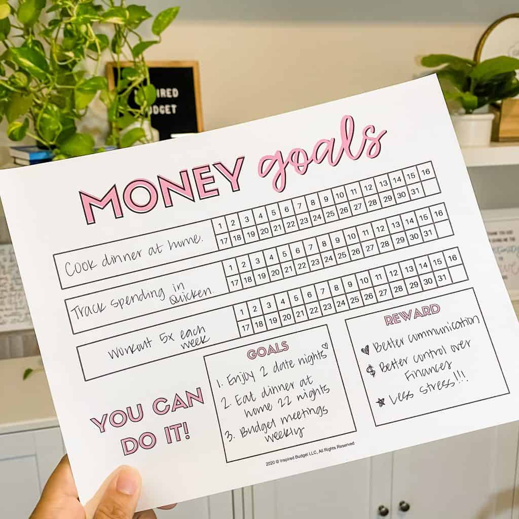 Money Goals Printable