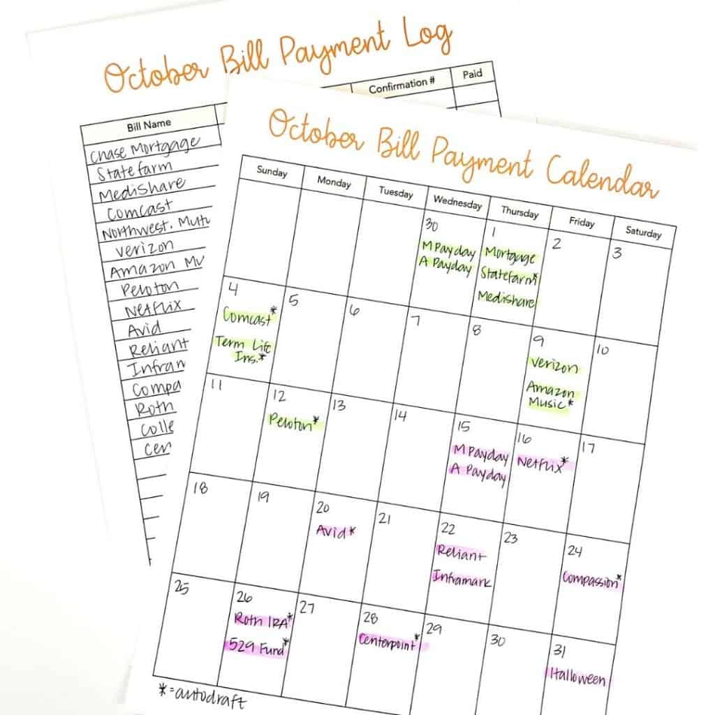 bill payment calendar printable