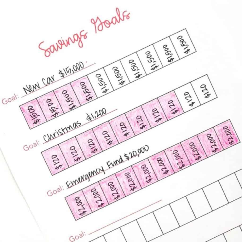 savings goals printable