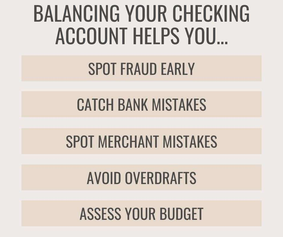list of benefits of balancing checking account