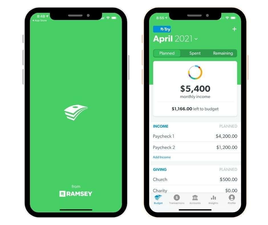EveryDollar App on phone