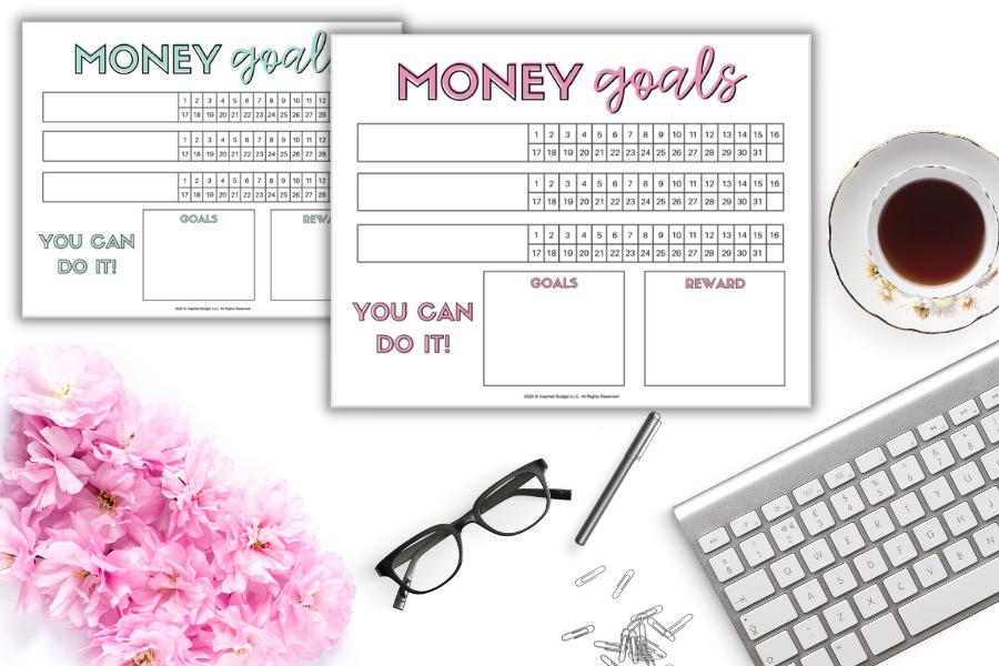 money goals tracker on desk