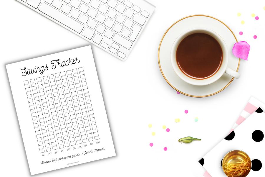 savings tracker printable on desk