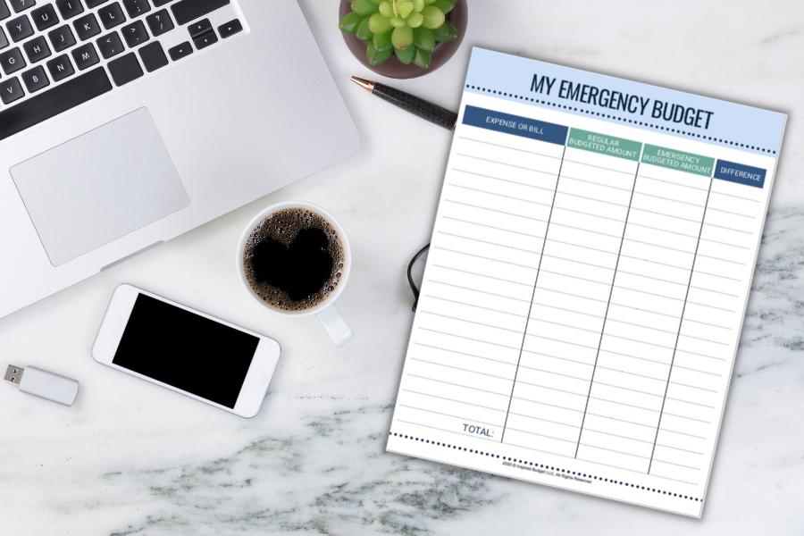 free emergency budget printable