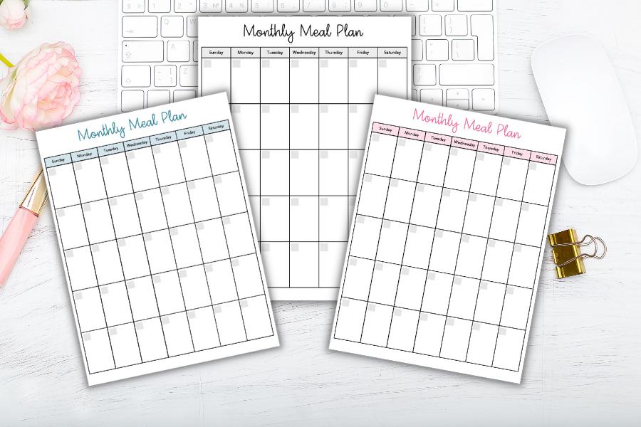 free meal planning calendar on desk