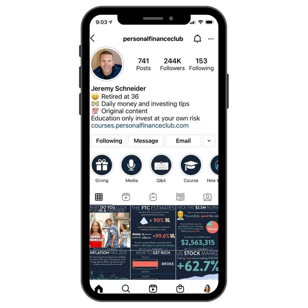 Personal Finance Club Instagram