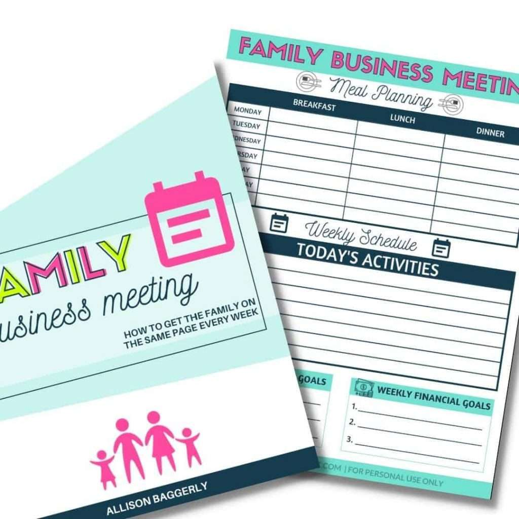Family Business Meeting Printable