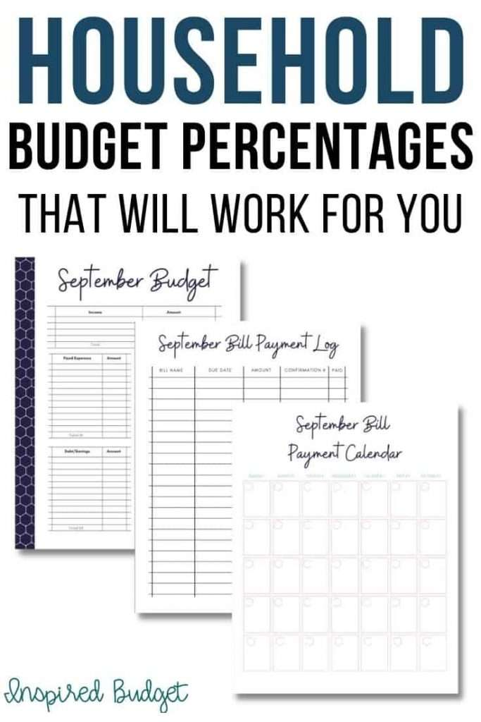 household budgete percentages